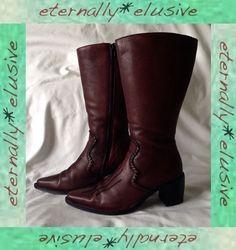 PIKOLINO Long Genuine Leather High Heeled Cowboy Boots Women Ladies Size 38 UK 5 10.05