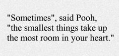 """Sometimes"", said Pooh, ""the smallest things take up the most room in your heart""."