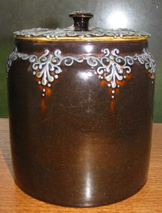 """Early Slip Decorated Weller Turada 6 1/2"""" Tobacco Jar with Lid From the 1800s 