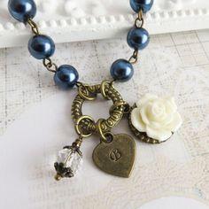 Personalized navy blue flower girl necklaces. #handmade #jewelry #weddings #wedding #bridal #flowergirl #navyblue #rustic #personalized