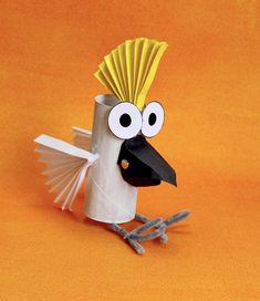 How to Make a Toilet Roll Cockatoo – Make Film PlayThis cheeky cockatoo is simple to make and its beak actually moves! We made the cockatoo as a stop motion puppet so, with the moving beak and detachable eyes, you can make him/her talk and look in …I Craft Activities For Kids, Preschool Crafts, Projects For Kids, Diy For Kids, Art Projects, Crafts For Kids, Toilet For Kids, Craft Ideas, Recycled Crafts