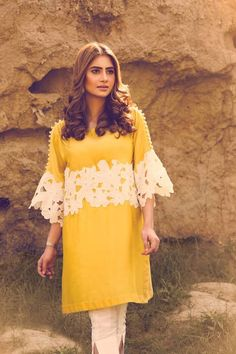 Latest Eid Dresses 2017 In Yellow and White Color