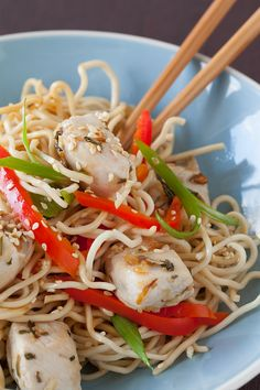 You can use rice noodles or any gluten-free noodles instead. For a vegetarian version, switch diced tofu for the chicken. Also try adding almonds or cashews, and any other favourite vegetable instead. Stir Fry Noodles, Rice Noodles, Epicure Recipes, Healthy Eats, Healthy Recipes, Gluten Free Noodles, Recipe Collection, Tofu, Cauliflower