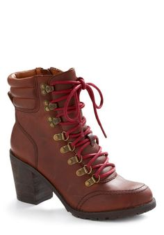 Tues - Route Sixty-Kicks Boot **I love these boots** Brown Booties, Ankle Booties, Crazy Shoes, Me Too Shoes, Logger Boots, Shoe Boots, Shoe Bag, Heeled Boots, Vintage Boots