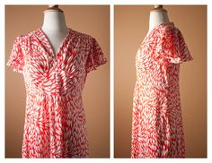 1960s 1970s Psychedelic Red Heart Print MAXI by BlueHorizonVintage, $27.00