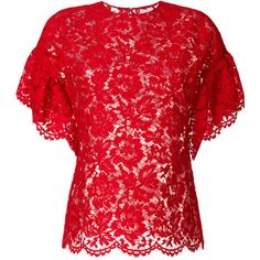 Valentino heavy lace top ($1,299) ❤ liked on Polyvore featuring tops, red, short sleeve lace top, scallop top, scalloped lace top, lace top and lacy tops