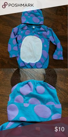 Monsters Inc. Bodysuit w/hat 3/6 6/9 months Adorable one piece with matching hat. Washed but never put on my baby. Size 50 which fits like a big 3/6 or smallish 6/9. Feel free to make a reasonable offer or add to a bundle for additional savings Shirts & Tops Tees - Long Sleeve