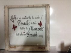 Decorative Windows with Sayings on Glass White Natural Finish on Frame love gift couple rustic