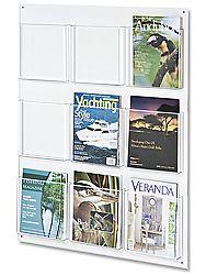 9pocket acrylic wall mount magazine rack display for plan print outs