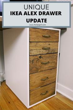 If you like the functionality of IKEA ALEX drawer but looking how to make it a bit different, check out my ikea hack to customize the drawer. Ikea Hacks, Ikea Furniture Hacks, Furniture Projects, Furniture Makeover, Office Furniture, Wooden Drawers, Diy Drawers, Easy Woodworking Projects, Diy Wood Projects