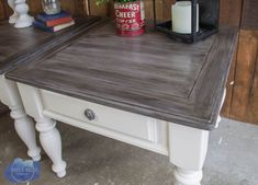 farmhouse end table makeover, barn wood finish, barnwood paint finish, greywood stain, roots and wings furniture Redo End Tables, Farmhouse End Tables, Painted End Tables, Farmhouse Style Table, Basement Furniture, Painted Bedroom Furniture, Repurposed Furniture, Home Furniture, Kitchen Furniture