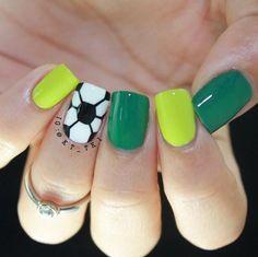 80 Classy Nail Art Designs for Short Nails  Football Nail Design for Short Nails #naildesigns #nailart #shortnails