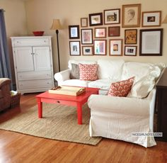 Sprucing up a living room with painted secondhand furniture and colorful pillows.