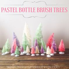 Pastel Bottle Brush Trees tutorial by Mommy Makes Things