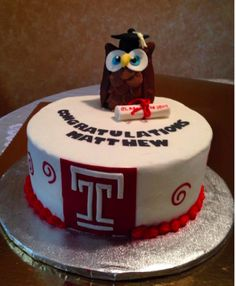 Made This Cake For My Grandsons Graduation From Temple University In Philadelphia Italian Cream Cake With Buttercream Icing The Temple T