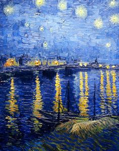 Vincent van Gogh - Starry Night Over the Rhone, This is stunning. - Vincent van Gogh is one of my favorite artist's as far as his works go - they are gorgeous! Vincent Van Gogh, Van Gogh Art, Art Van, Van Gogh Pinturas, Art Amour, Van Gogh Paintings, Ouvrages D'art, Impressionist Art, Claude Monet