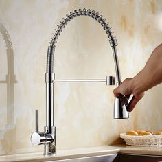 Free Shipping Brass chrome Spring Pull Out Kitchen Faucet Sink Faucet luxury Hot & Cold luxury Water Kitchen Mixer tap
