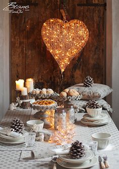 Metropolitan collection with Basic dinnerware and cieling big heart light decoration