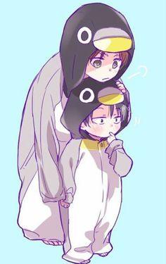 Levi (Rivaille) and Eren   Shingeki no Kyojin #Chibi