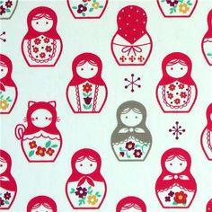 Matryoshka Babushka Russian Nesting Dolls Pattern Doll Party Fabric Patterns