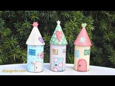 Adorable Felt Fairy Houses - How To Instructions Toilet Paper Roll Crafts, Diy Paper, Paper Crafts, Roll House, Craft Projects, Crafts For Kids, Felt Fairy, Paper Birds, Fairy Birthday