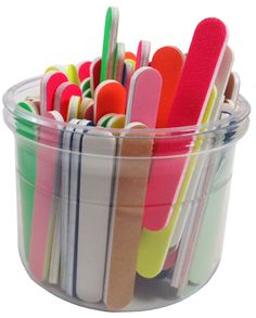 """Nailfiles.com - Assorted Colors and grits 3-1/2"""" x 1/2"""" Mini File Bucket 100-ct, $16.60 (http://nailfiles.com/mini-files/assorted-colors-and-grits-3-1-2-x-1-2-mini-file-bucket-100-ct/)"""