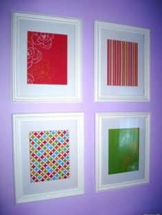 """Framed Scrapbook Paper. Looks a little """"cheap"""" but it was easy and can be endlessly changed."""