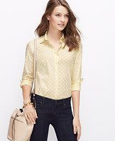 Polka Dot Perfect Shirt - On the dot: we love the classic appeal of a crisp button-down, with a touch of modern stretch. Point collar. Long sleeves with button closure. Button front. Back yoke. Shirttail hem.