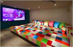 hometheater color couch e Ideas to Convert Small Bedroom to Media Room Design