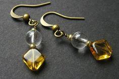 New to Gilliauna on Etsy: Yellow Earrings. Dangle Earrings. Glass Earrings in Bronze. Handmade Jewelry. (18.00 USD)