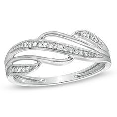 Diamond Accent Split Waves Ring in 10K White Gold