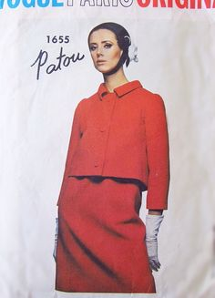 1960s Rare Mod PATOU Suit Pattern VOGUE PARIS ORIGINAL 1655 Short Straight Jacket and Skirt Day or Cocktail Party Suit Bust 32 Vintage Sewing Pattern + Sew In Vogue Label