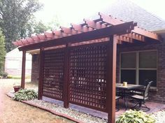 Pergola idea for the back - with lattice for a bit more privacy? idea for the back - with lattice for a bit more privacy? Pergola Cost, Metal Pergola, Pergola With Roof, Outdoor Pergola, Pergola Shade, Pergola Plans, Outdoor Decor, Diy Pergola, Rustic Pergola