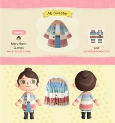 Post your Animal Crossing fits and custom designs here! Animal Crossing Funny, Animal Crossing Guide, Animal Crossing Villagers, Animal Crossing Qr Codes Clothes, Animal Games, My Animal, Ac New Leaf, Motifs Animal, Color Block Sweater