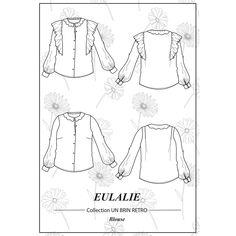 La souplesse du volume et la légèreté des volants rendent cette blouse idéale pour un look féminin et vaporeux ! Un joli col claudine à feston ou un col à froufrou à réaliser dans la même matière ou en galon brodé, un brin rétro. Un style affirmé grâce aux poignets boutonnés et aux bas de manches froncées. Ce patron offre deux versions de cols. #prettypatron #prettymercerie #blouseeulalie #mercerieenligne #tissu #sewingpattern #patrondecouture Pretty Mercerie, Retro, Sewing, Brin, Blouses, Patterns, Style, Men's Shirts, Bespoke Clothing