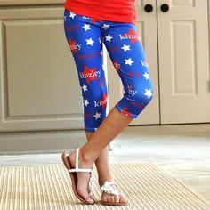Girls Blue Star NAME Arden Capri Leggings