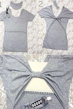 Créez un joli décolleté dans votre dos. | 26 idées faciles pour transformer un vieux t-shirt