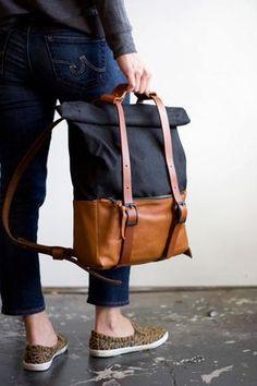 Sac de voyage sac à dos, sac à dos Top Roll, toile en cuir et ciré en cuir Tan noir ciré toile : ACE sac à dos - Black & Tan de poinçon Snap