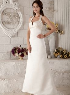 88b314d248c High Quality Cheap Sheath   Column Halter Sweetheart Notched Natural Waist  Non-Strapless Satin Wedding Dress from HeleneBridal is on sale at wholesale  ...