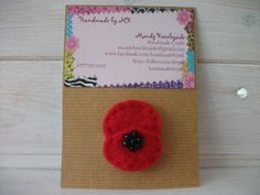 Needle Felted Poppy Beaded Brooch.  £4.50 plus p&p