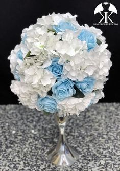 ellas first birthday Flower Ball Centerpiece, Blue Centerpieces, Wedding Centerpieces, Mickey Centerpiece, Crown Centerpiece, Dusty Rose Wedding, Aqua Wedding, Sangria Wedding, Light Blue Roses