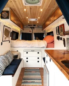 Advice for building and living in a diy ford transit camper conversion. This - Van Life Ford Transit Camper Conversion, Van Conversion Interior, Camper Van Conversion Diy, Van Interior, Motorhome Interior, Ford Transit Connect Camper, Sprinter Van Conversion, Van Conversion Lighting, Van Conversion Bed Ideas
