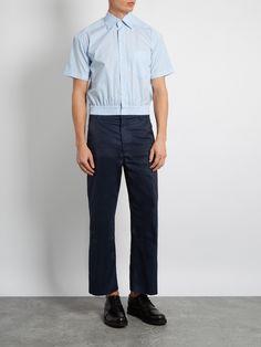 Click here to buy Balenciaga Striped cotton-poplin cropped shirt at MATCHESFASHION.COM
