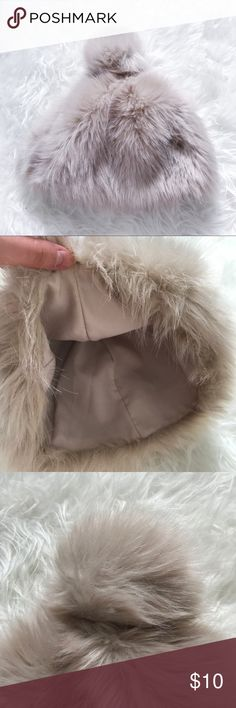 ☁️Faux Fur Pom Pom Hat☁️ ✨Fuzzy pom pom hat!✨ 🌸Length: approx 8 inches🌸 🌼Note: some makeup stains on inside of hat (see 6th and 7th pictures) price reflects that🌼 🌷No trades, thanks🌷 🌺I can negotiate for reasonable offers🌺 Zara Accessories Hats