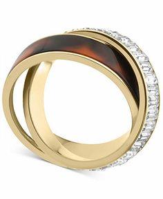 Michael Kors Ring, Gold-Tone Tortoise Baguette Criss-Cross Ring