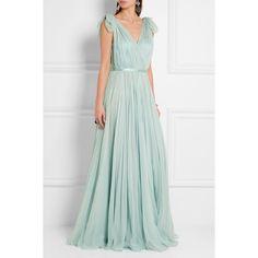 Alexander McQueen Gathered silk-chiffon gown (449.710 RUB) via Polyvore featuring dresses, gowns, green ball gown, ruched evening gown, green evening gown, metallic dress и ruching dress