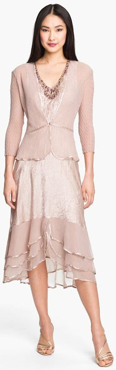 Fashion flaire in this pretty satin  chiffon dress with jacket