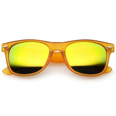 1c495dfbdaf0 Retro Frost Matte Square Colored Mirror Lens Horn Rimmed Sunglasses 55mm  (Frost Orange   Yellow Mirror)