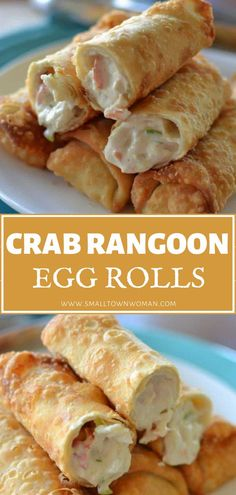Egg Roll Recipes, Crab Recipes, Crab Egg Roll Recipe, Crab Rangoon Egg Roll Recipe, Crab Rangoon Filling, Rolls Recipe, Potato Recipes, Vegetable Recipes, Dinner Recipes