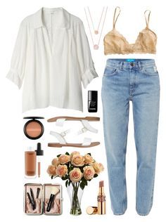 """Mimi rouge"" by sophiehackett ❤ liked on Polyvore featuring M.i.h Jeans, MAC Cosmetics, Nearly Natural, Eberjey, Bobbi Brown Cosmetics, Yves Saint Laurent, Michael Kors, le top and Windsor Smith"